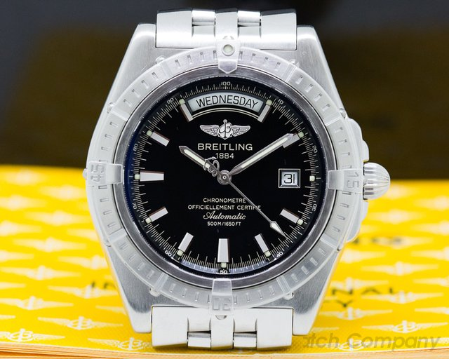 Breitling A45355 Headwind Day Date SS / SS Black Dial