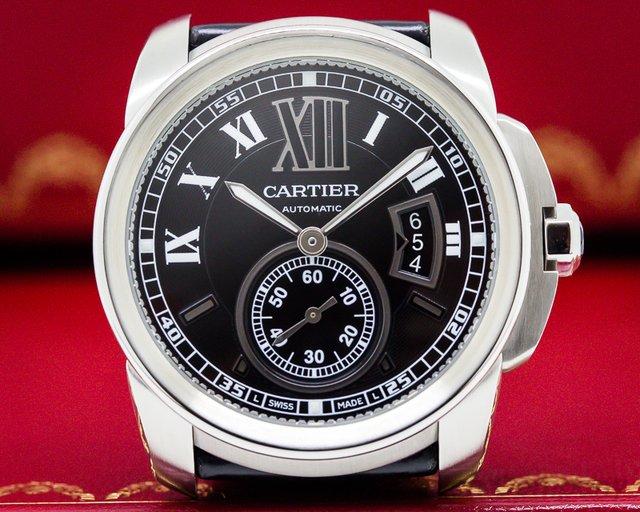 Cartier W7100014 Calibre de Cartier Black Dial SS / Alligator