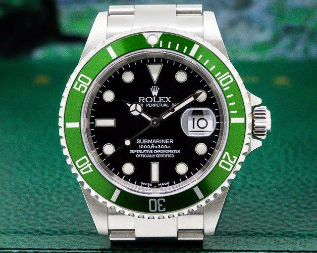 "Rolex 16610LV ""FLAT 4"" Submariner 50th Anniversary SS Green Bezel COMPLETE"