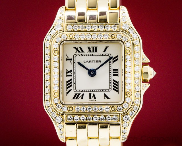 Cartier WF3072B9  Ladies Mini Panthere 18K YG Diamond Case Quartz