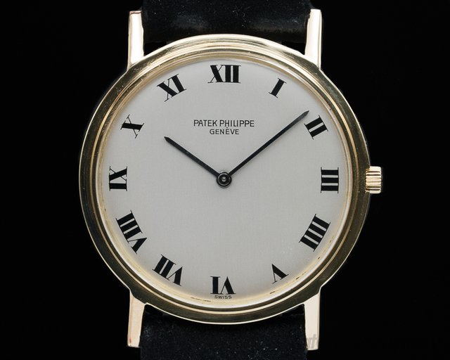 Patek Philippe 3520J Calatrava 18K Yellow Gold Manual Wind Silver Roman Dial