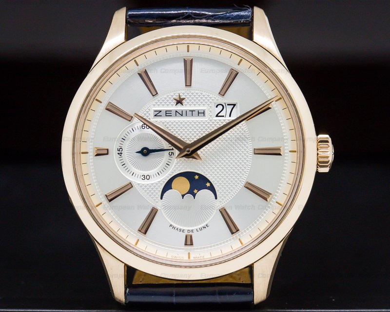Zenith 18.2140.691/02.C498 Captain Moonphase 18K RG Silver Dial 40MM