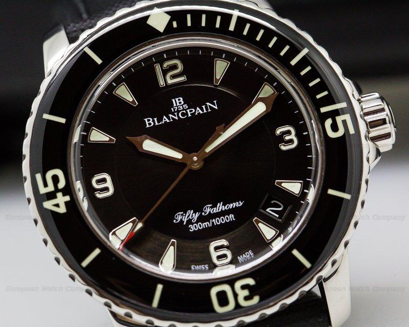 Blancpain 5015-1130-52 Fifty 50 Fathoms Black Dial SS 45MM