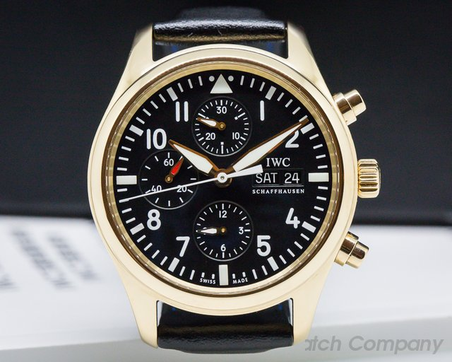 IWC IW371713 Pilot Chronograph Black Dial Rose Gold