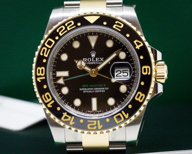 Rolex 116713LN GMT Master II  SS / 18K Yellow Gold Black Dial UNWORN