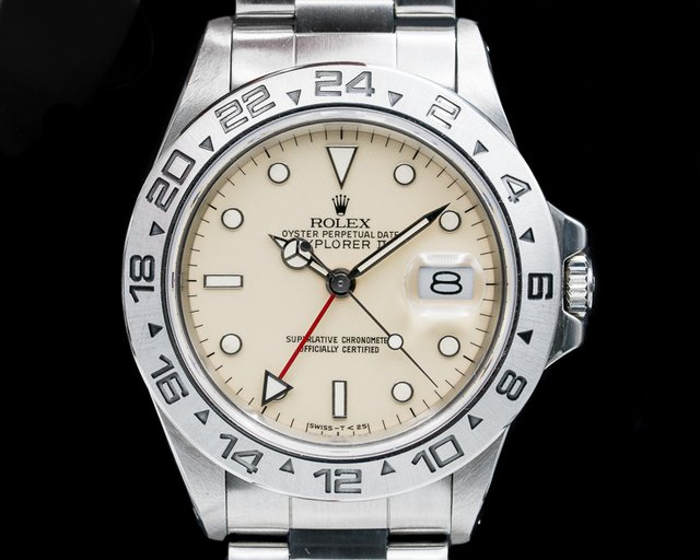 Rolex 16550 Explorer II with RARE Transitional Cream Rail Dial SS FULL SET
