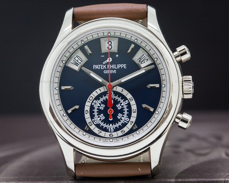 Patek Philippe 5960/01G-001 Annual Calendar Chronograph White Gold Blue Dial 5960/01G UNWORN