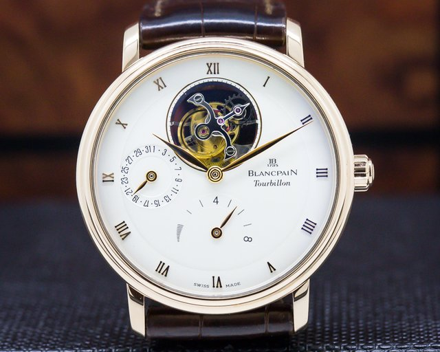 Blancpain 6025-3642-55b Villeret Tourbillon 8 Day Power Reserve 18K Rose Gold
