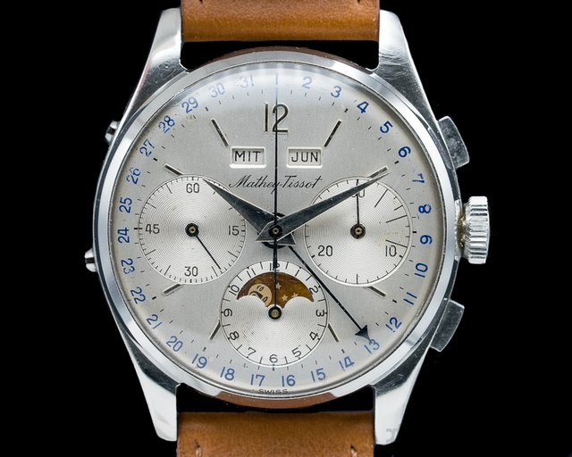 Mathey Tissot  Vintage Triple Calendar Chronograph Moonphase Manual Wind SS