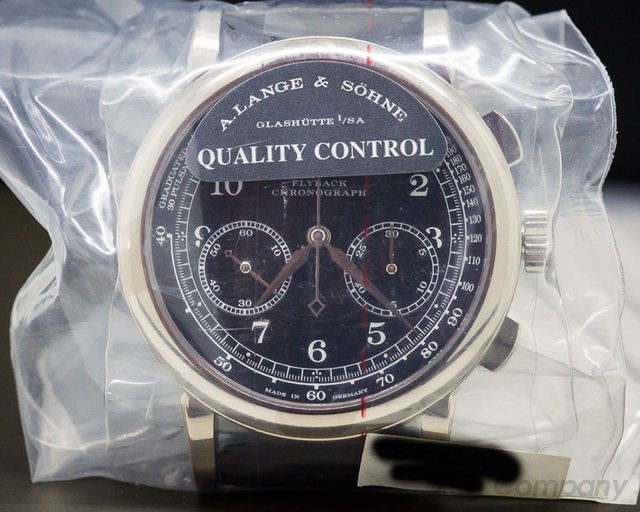 A. Lange and Sohne 414.028 1815 Chronograph 18K White Gold BLACK DIAL SEALED