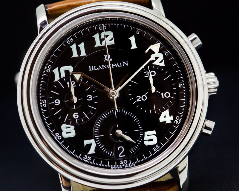 Blancpain 1185F-1130M-63 1185F Leman Flyback SS Black Dial / 33MM