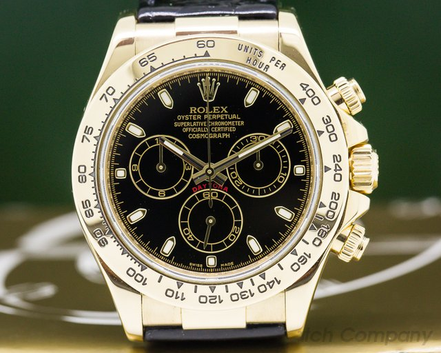 Rolex 116518 Daytona Black Dial 18K / Alligator