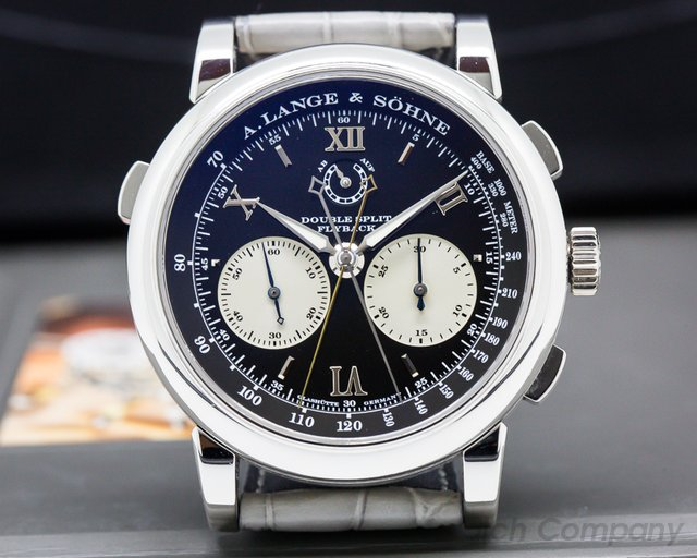 A. Lange and Sohne 404.035 Datograph Double Split Black Dial Platinum / Deloyment