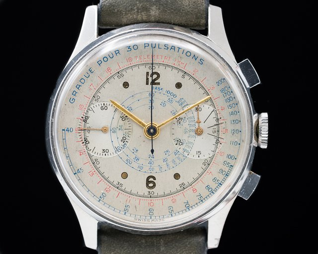 Anonymous  Vintage Oversized Chronograph Unsigned Dial SS