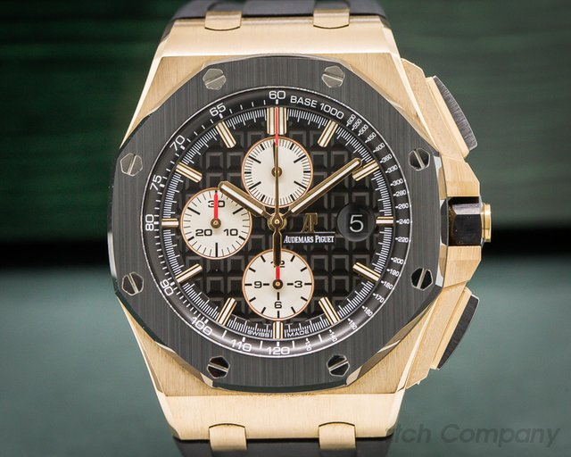 Audemars Piguet 26401RO.OO.A002CA.01  Royal Oak Offshore Black Dial Ceramic Bezel RG / Rubber