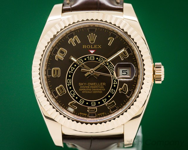 Rolex 326135 Sky Dweller Chocolate Dial Rose Gold / Alligator