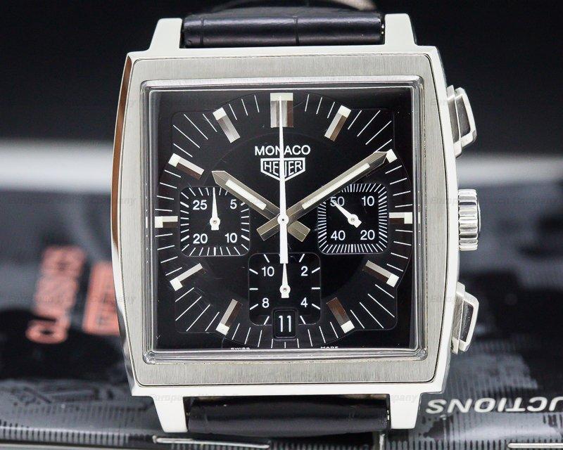 TAG Heuer CS2111 Monaco Chronograph Square SS Black Dial