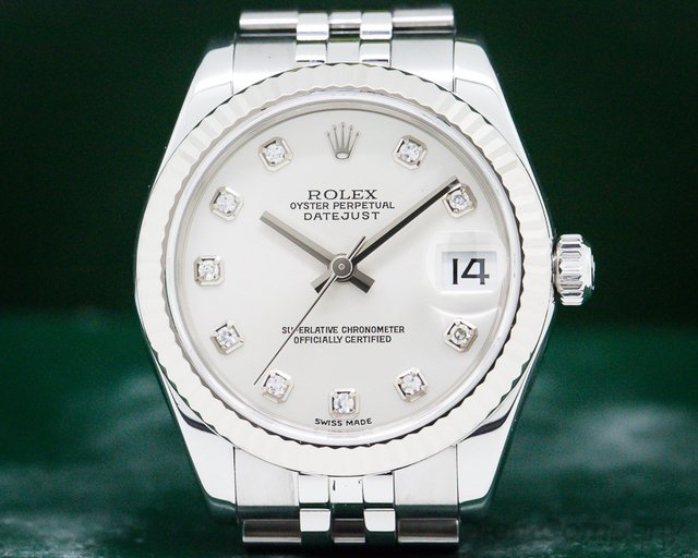 Rolex 178274 Datejust Midsize Jubliee SS Silver Diamond Dial