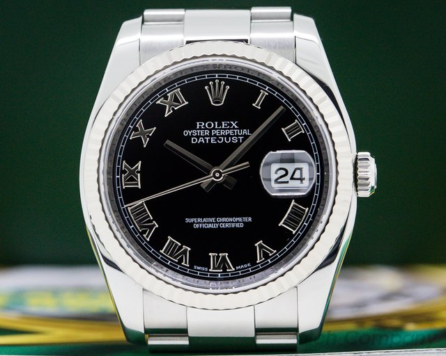 Rolex 116234 Datejust Black Roman Dial SS 36MM