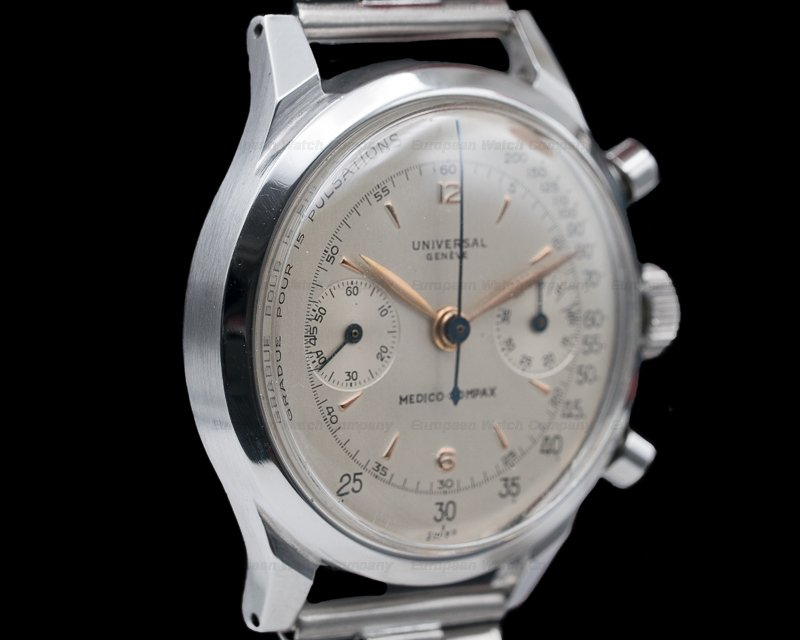 Universal Geneve 22409 Medico Compax SS Screw Back 38MM Circa 1940s