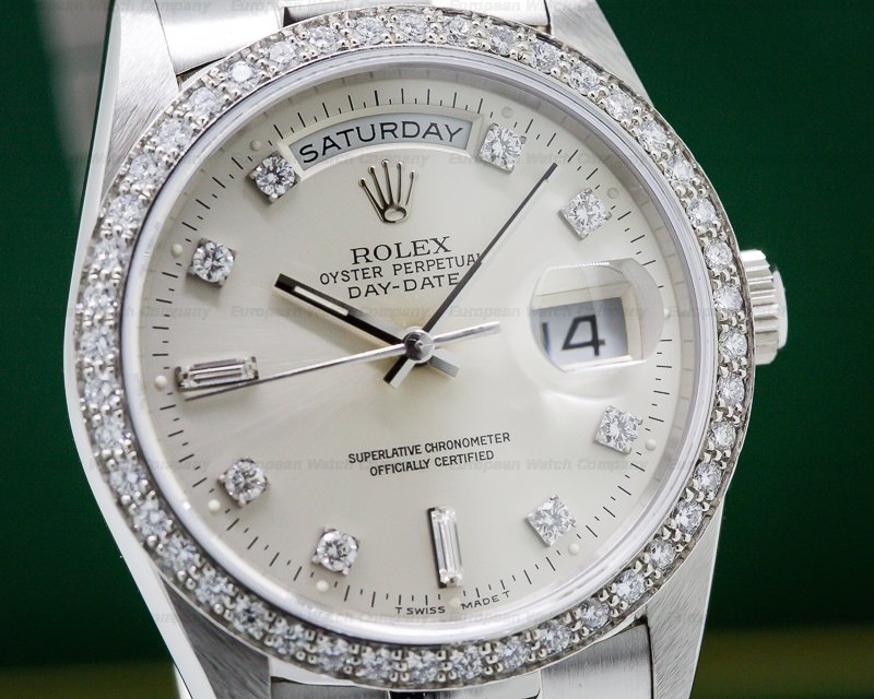 Rolex 18346 Oyster Perpetual Day Date Platinum Diamond Bezel ORIGINAL PAPERS