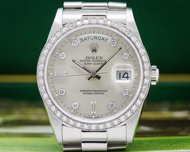 Rolex 18346 Oyster Perpetual Day Date Platinum Diamond Bezel ORIGINAL PAPERS