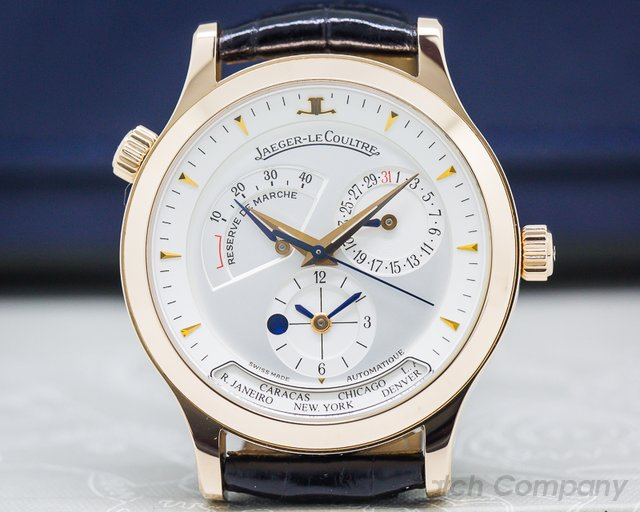 Jaeger LeCoultre Q142292 Master Geographic 18K Rose Gold Half Hunter Case White Dial