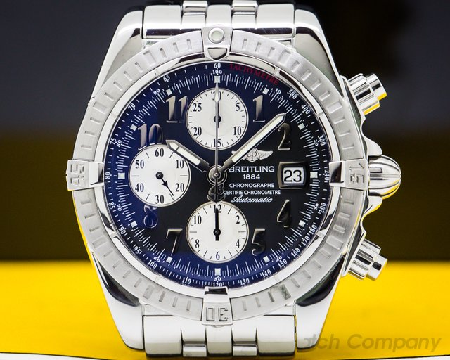Breitling A13356 Chronomat Evolution Chronograph SS Black Dial