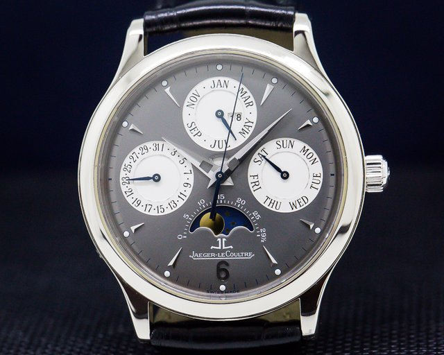 Jaeger LeCoultre Q149.347.A Perpetual White Gold Grey Dial / 18K Deployant