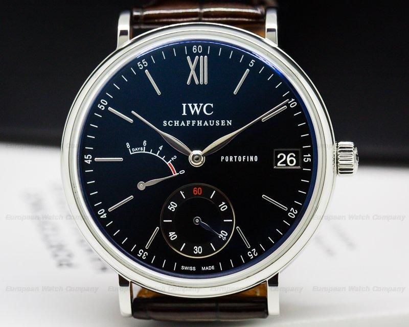 IWC IW510102 Portofino Hand Wound Eight Days SS Black Dial