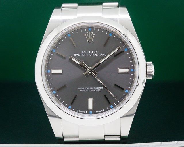 Rolex 114300 Oyster Perpetual SS Dark Rhodium Dial