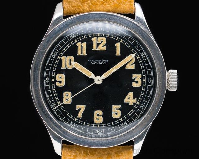 Movado  Oversized Movado Chronometre Black Luminous Dial RARE