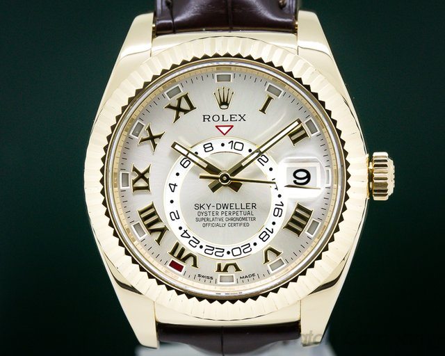 Rolex 326138 Sky Dweller Silver Dial 18k Yellow Gold / Alligator