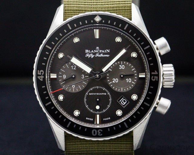 Blancpain 5200-1110-NABA Fifty Fathoms Bathyscaphe Flyback Chronograph SS / Nato