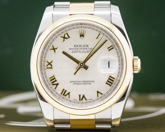 Rolex 116203 Datejust 18k /SS Ivory Pyramid Dial Roman