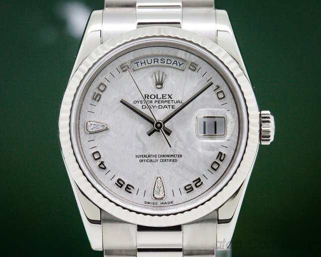 Rolex 118239 Day Date President Meteorite Diamonds 18K White Gold