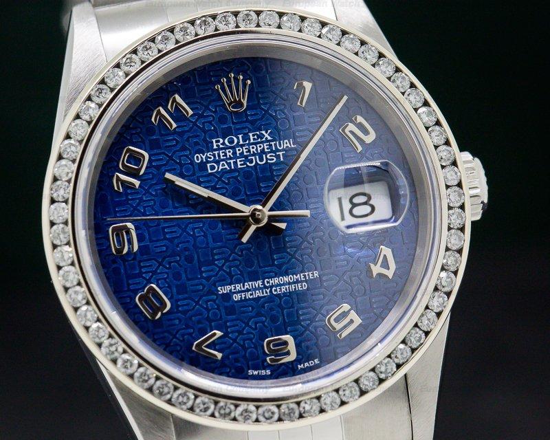 Rolex 16220 Datejust Blue Jubliee Arabic Dial SS