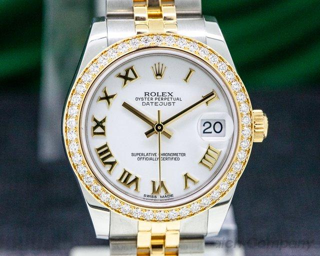 Rolex 178383 Datejust White Roman Dial Diamond Bezel 18K / SS