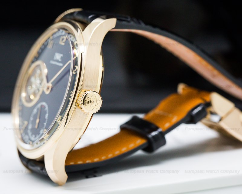 IWC IW546305 Portugieser Tourbillon Hand Wound 18K Rose Gold BLUE Dial LIMITED