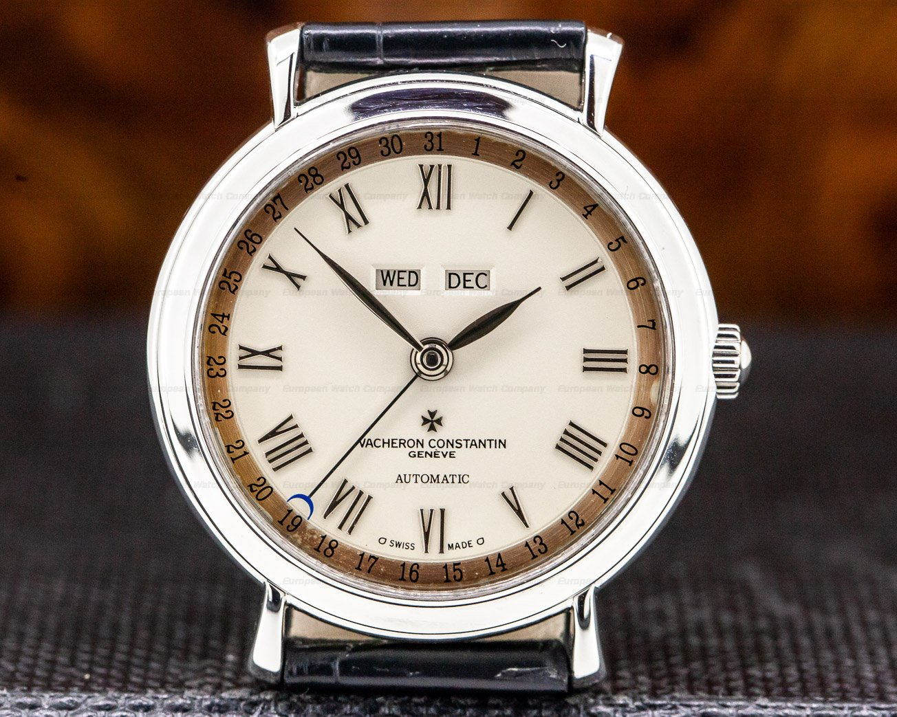 Vacheron Constantin 47051/000G-8759 Triple Date 18K White Gold / White Gold Tang Buckle PATINA