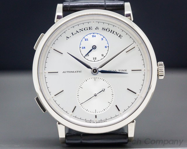 A. Lange and Sohne 385.026 Saxonia Dual Time 18K White Gold