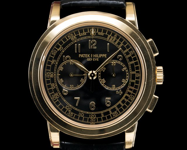 Patek Philippe 5070J-001 5070 Yellow Gold Chronograph Black Dial