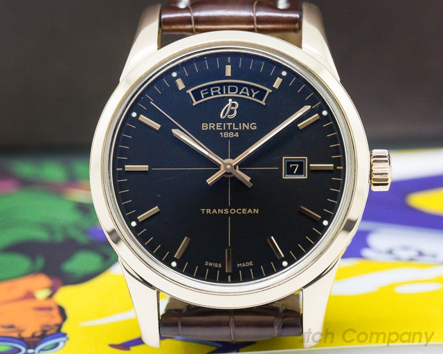 Breitling R4531012 Transocean Day Date Automatic Rose Gold / Black Dial RG Buckle