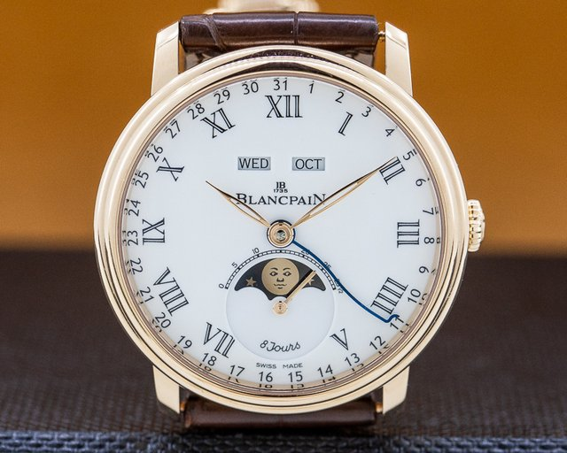 Blancpain 6639-3631-55B Villeret Moonphase Complete Calendar 8 Day 18K Rose Gold
