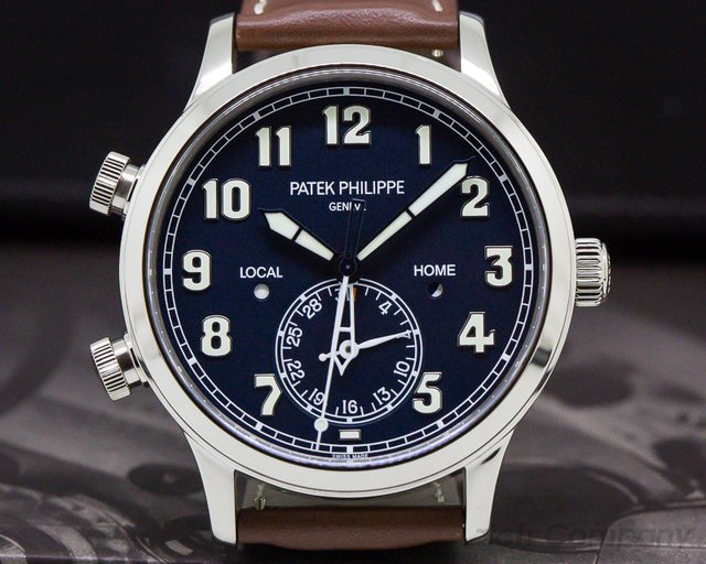 Patek Philippe 5524G-001 Calatrava Pilot Travel Time 18k White Gold