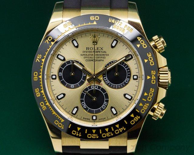 Rolex 116518  Cosmograph Daytona Ceramic 18K Yellow Gold / Champagne Dial