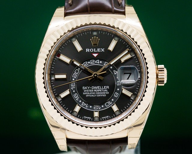 Rolex 326135 Sky Dweller Rhodium Dial Rose Gold / Alligator UNWORN