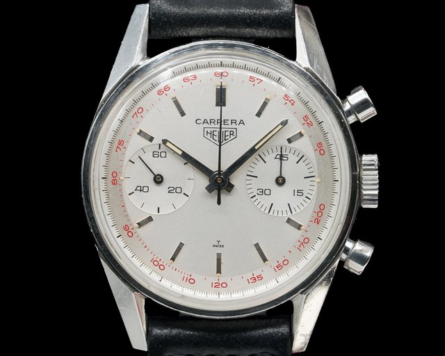 Heuer 3647T Vintage Carrera Tachy 45 Silver Dial SS
