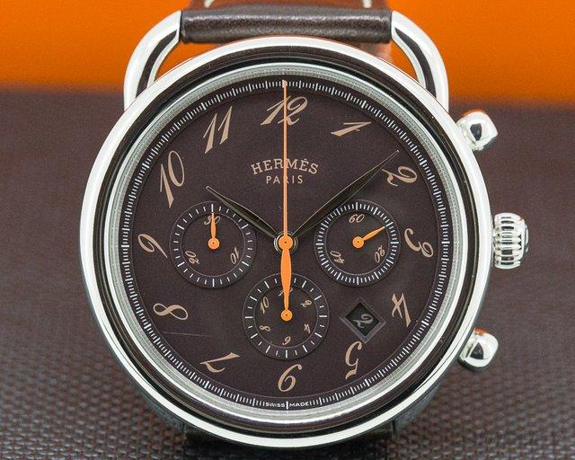 Hermes AR4910332V/BE Arceau Chronograph SS Brown Dial