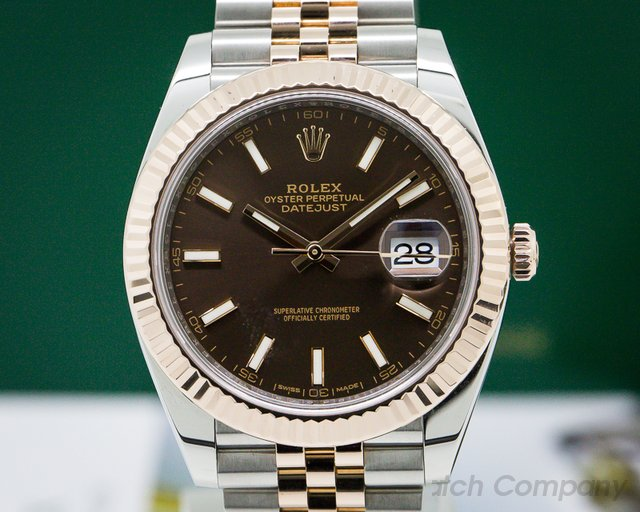 Rolex 126331 Datejust 41 Tobacco Brown Stick Dial 18K Rose / SS